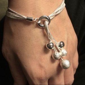 New Sterling Silver Dangling Ball Bracelet